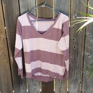Long sleeve striped TNA v-neck shirt
